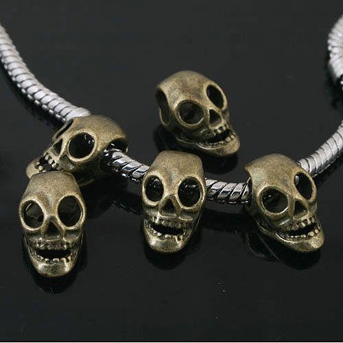 20pcs antiqued bronze skull spacer Beads Fit European Bracelet L0039