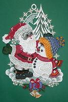 Fensterbild Weihnachtsmann & Schneemann - Plauener Spitze - Winter/Weihnachten