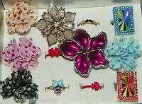 Wholesale Lot 12 Pc Assorted Fashion Costume Jewelry Cocktail Rings 1 Dozen B