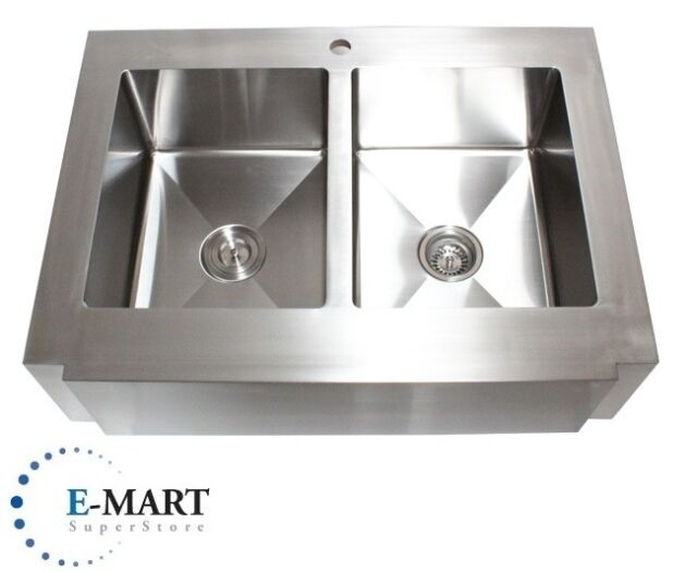 36 Inch Stainless Steel Flat Front Farmhouse Apron Kitchen Sink 50