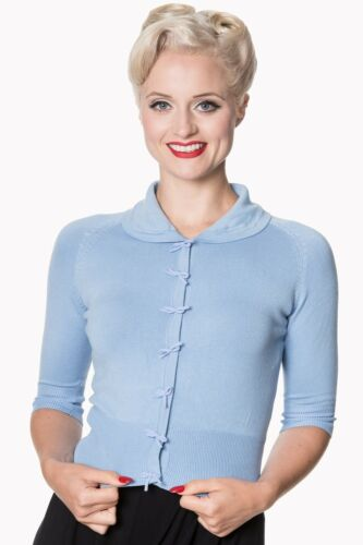 Light Blue Rockabilly Vintage Plain Peter Pan Collar Cardigan BANNED Apparel