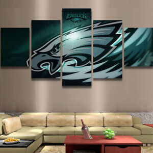Philadelphia Eagles Retro 5 pcs Painting Printed Canvas Wall Art Home Decorative