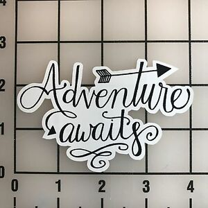 """Adventure Awaits Quote 4"""" Wide Multi-Color VInyl Decal ..."""