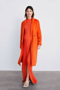 S Zara Orange Neon Wool Blend Masculine Coat Size XS M