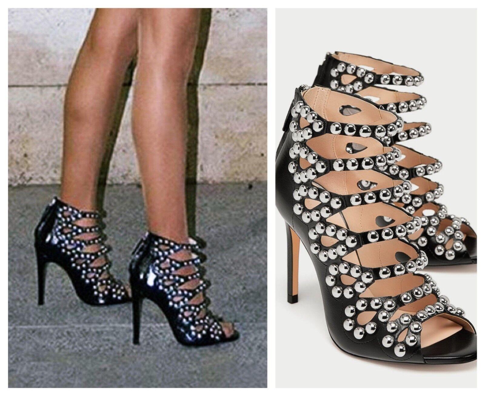 Zara Noires Cloutées Cuir Verni Talon Haut Gladiateur Sandales Chaussures UK6 bloggers