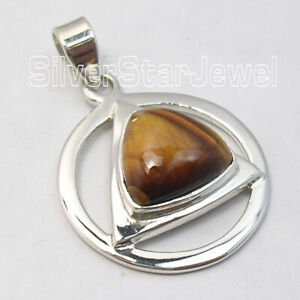 925-Stamp-Pure-Sterling-Silver-Yellow-amp-Brown-Fancy-Tiger-039-s-Eye-Pendant-Jewelry