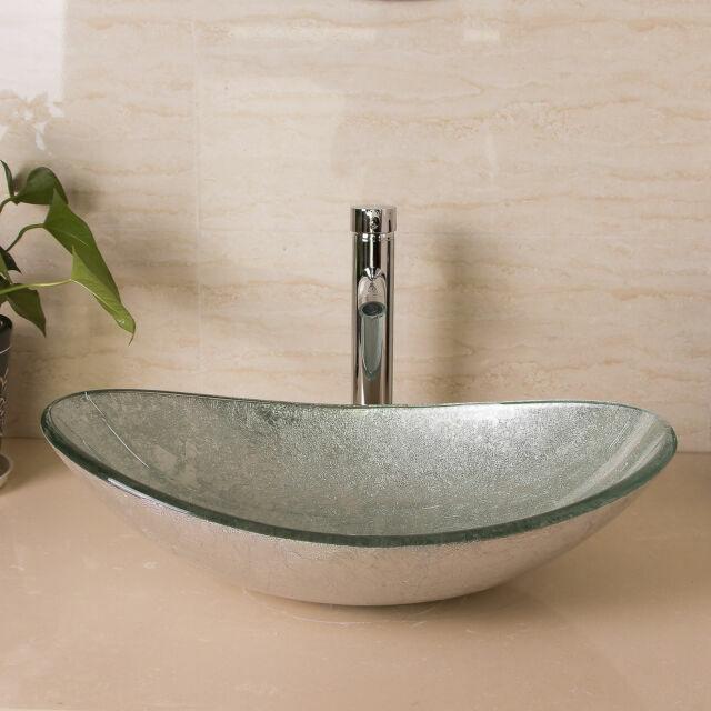 Walcut Usbr1046 Bathroom Modern Oval Artistic Glass Vessel Sink With Chrome For Sale Online Ebay