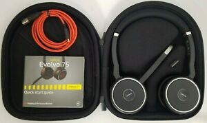 Jabra Evolve 75 Wireless Headset W Carrying Case And Usb Link 370 Dongle New 706487017622 Ebay
