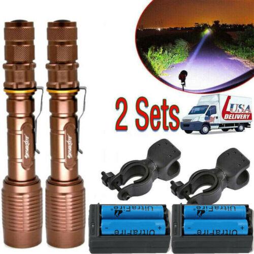 Police Tactical 350000Lumen 5Modes  LED Zoom Flashlight Aluminum Torch Lot USA
