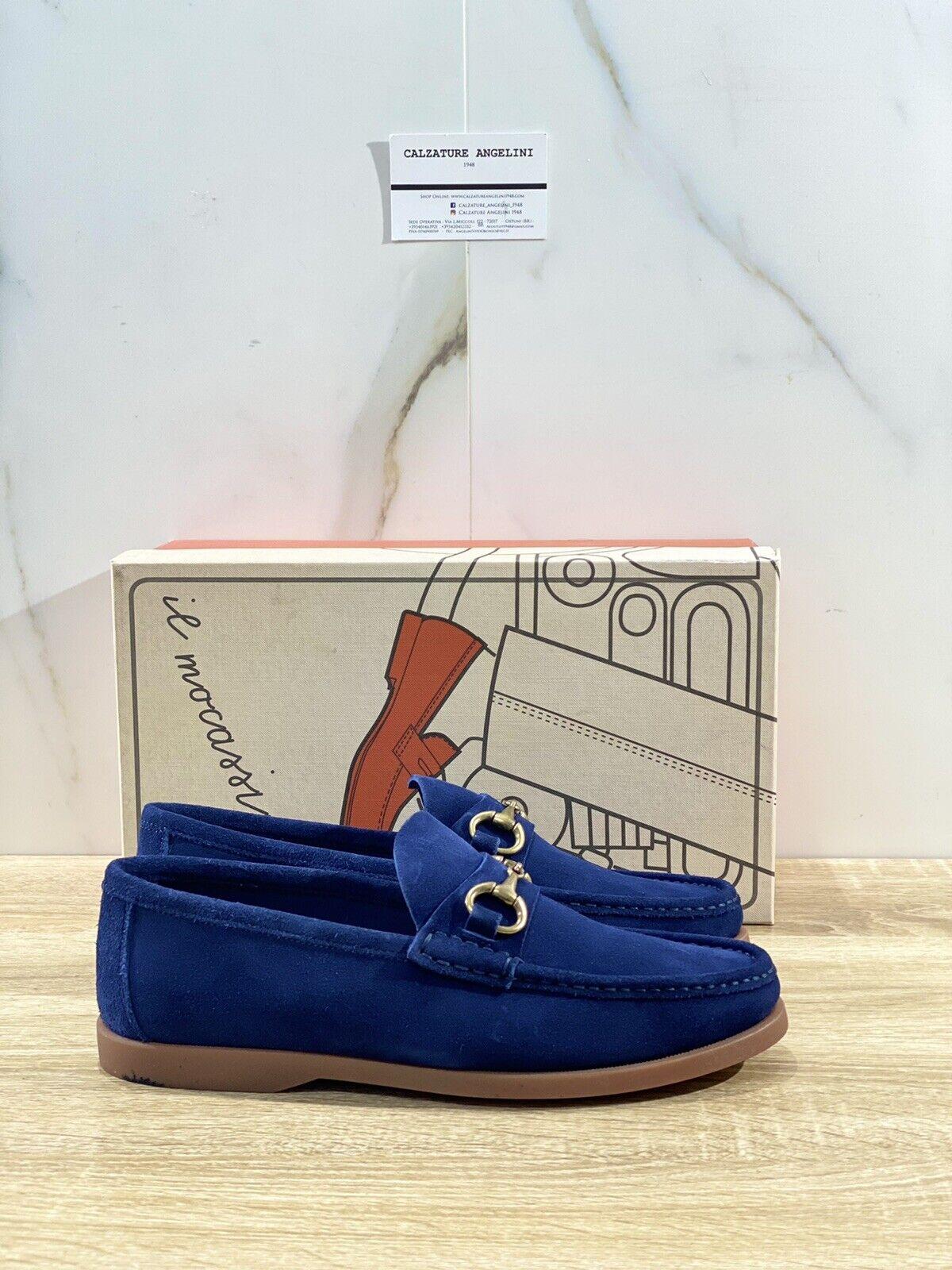 Il Mocassino Men's Shoe Reverso IN Suede Navy Luxury Men Shoes 44