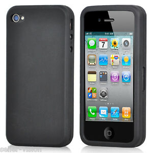 Black-Silicone-Rubber-Gel-Case-Cover-Protector-Protection-for-Apple-iPhone-4-4S