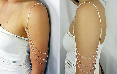 Silver handcrafted arm harness shoulder chain upper arm bracelet