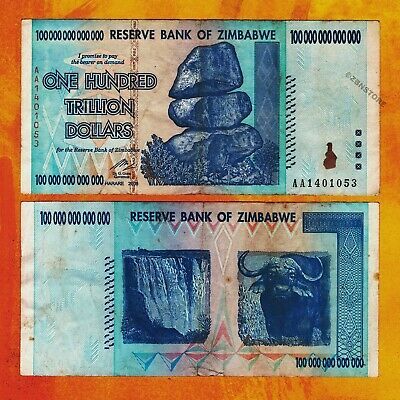 //100 Trillion series circulated 1 x 100 Trillion zimbabwe 2008 series AA