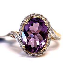 New 14k yellow gold .20ct diamond oval halo purple amethyst gemstone ring 5.3g 7