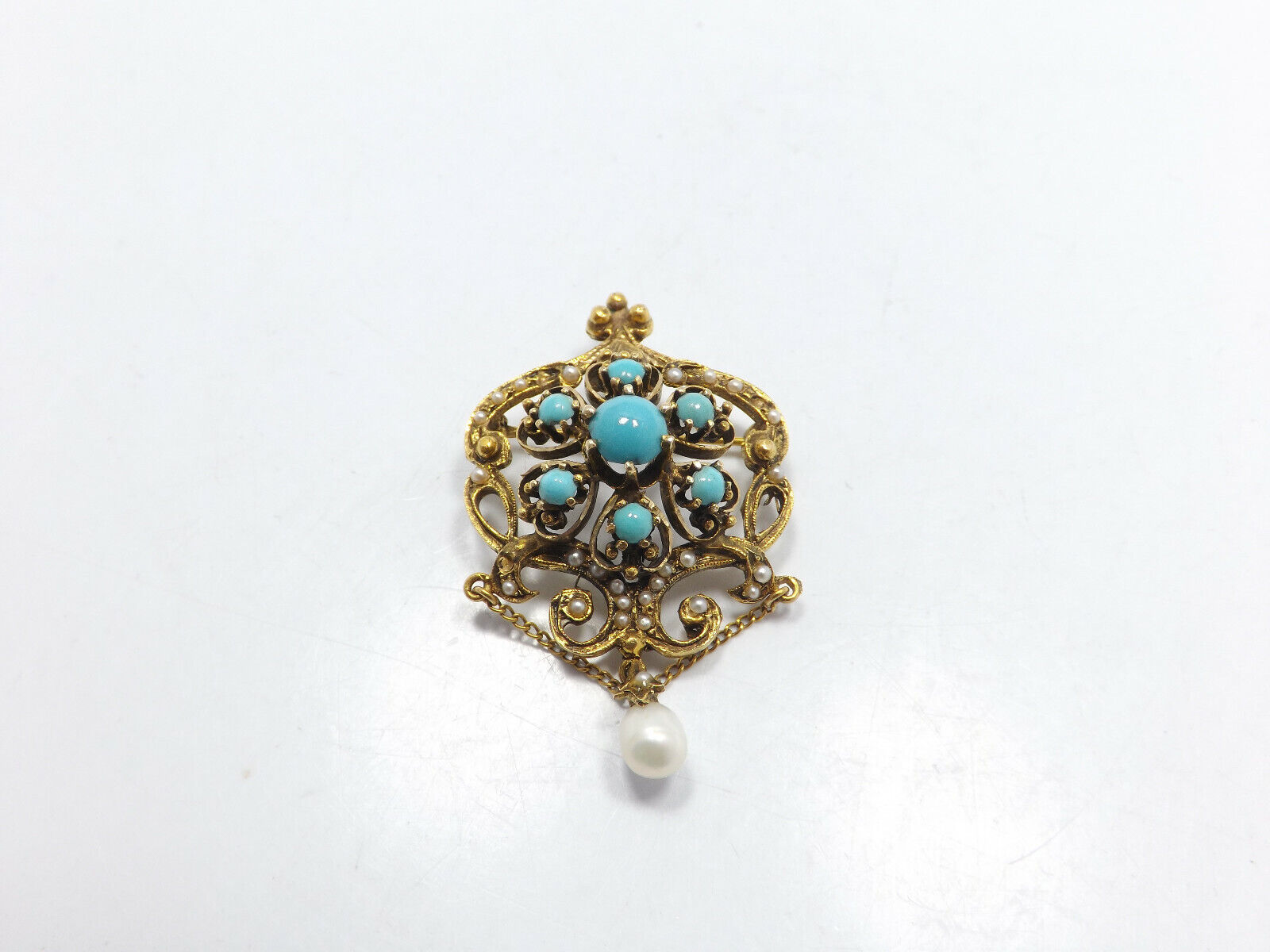 Vintage 14k Gold Persian Turquoise Seed Pearl Orn… - image 3