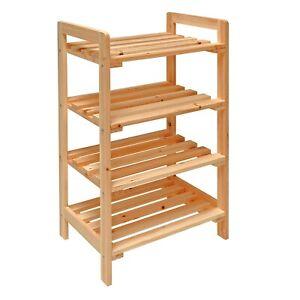 Details zu Bad-Regal Holz Badezimmerregal Haushaltsregal Standregal mit 4  Böden 45x33x79 cm