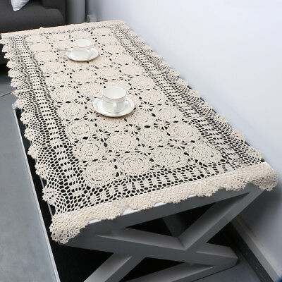 44/'/'L x 43/'/'W Cottage Style Vintage Linens Vintage SQUARE Crochet Tablecloth Granny Style Handmade Ecru Vintage Home