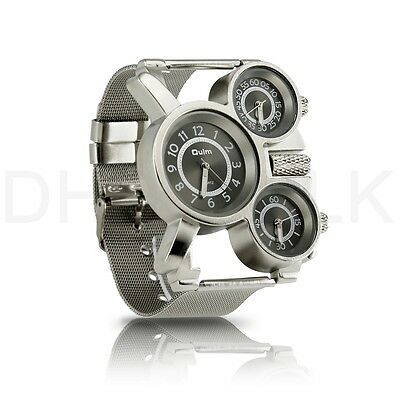 Men's Quartz Wrist Watch Stainless-steel Metal Mesh Strap Multi Time Zone Analog