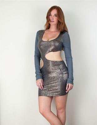MARYSOL Shimmering Lavender Sheer Netting Long Sleeve Cut Outs Mini Dress