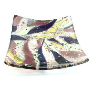 Murano-Glass-Plate-Purple-White-and-Gold-Square-High-Quality-Venice-13cmx13cm