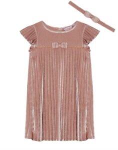 202cca338ae3ab Ted Baker Baby Girls Pink Velvet Pleated Dress   Headband Set 6-9 ...
