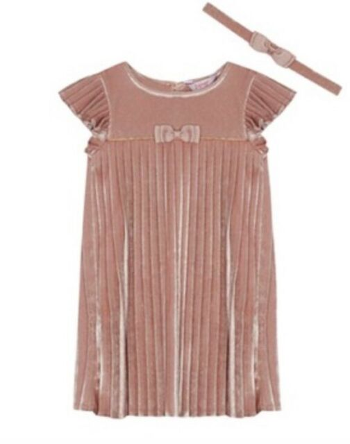 6a20027bdae0 Ted Baker Baby Girls Pink Velvet Pleated Dress   Headband Set 18-24 Months  BNWT