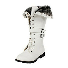 Women's Knee High Lace Up Faux Fur Dress Boots in Black, Brown, Tan, Gray, White