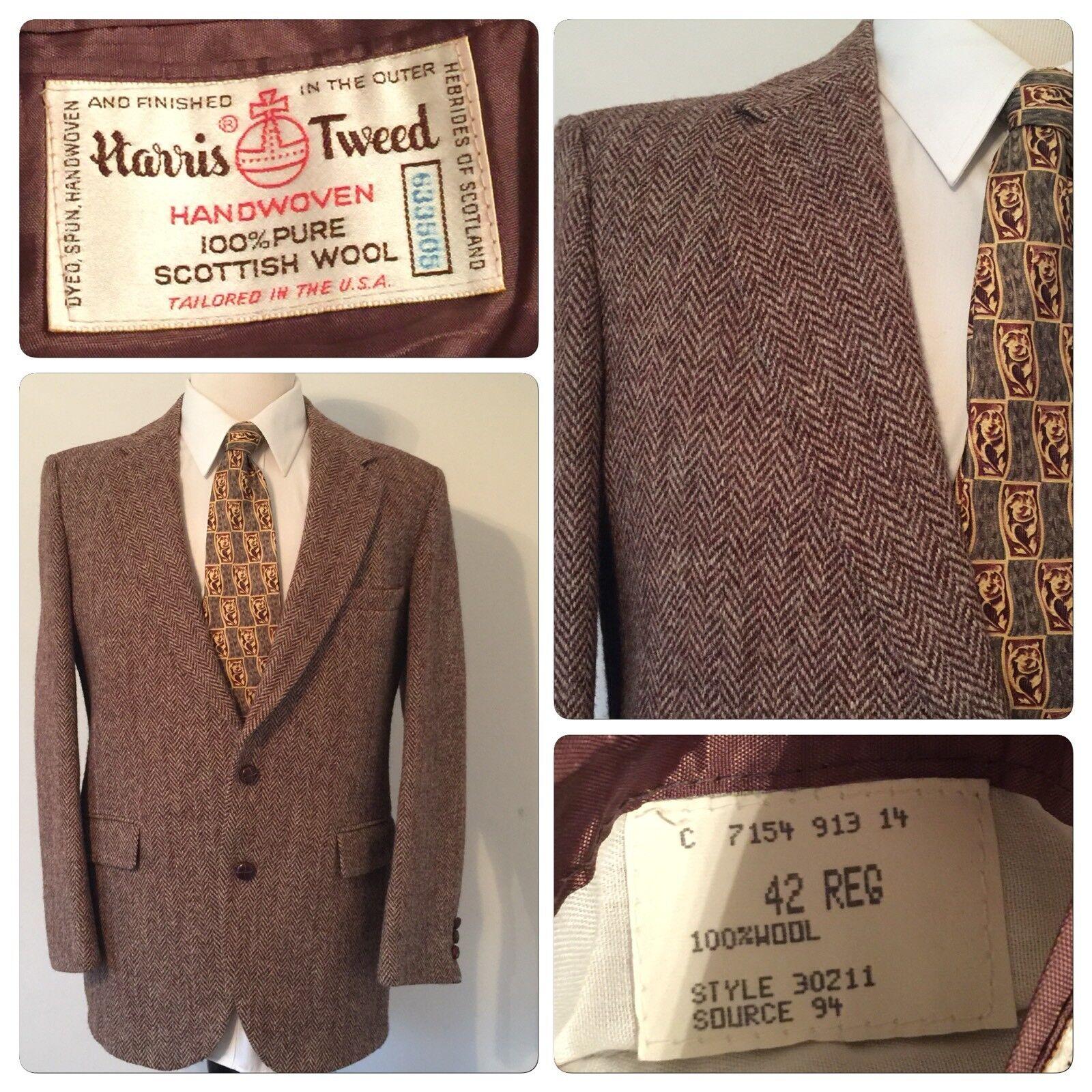 Harris Tweed  Herren Blazer 100% Pure Scottish Wool Größe 40 Vintage Braun Coat USA
