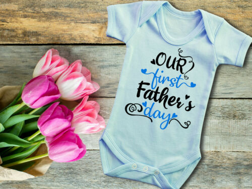 Our first Father/'s day blue baby grow bodysuit vest Fathers day gift