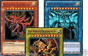 Slifer Winged Dragon of Ra Ultra Rare Obelisk Yugioh Egyptian God Cards Set
