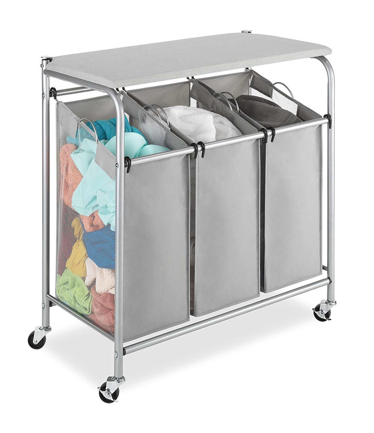 Silber 3-Compartment Mesh Sided Bag Rolling Laundry Hamper w Folding Top Rack