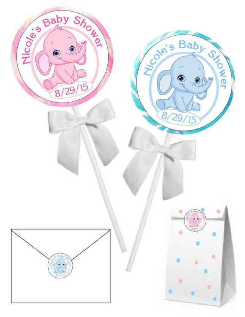 40 Pink Or Blue Elephant Baby Shower Favors Stickers For Lollipops