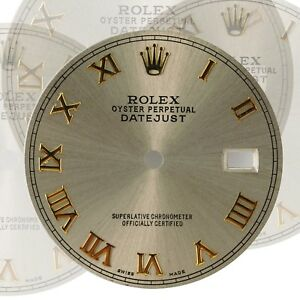 Custom-Grey-Dial-with-Roman-Numeral-Hour-marker-to-fit-Rolex-Datejust-36mm