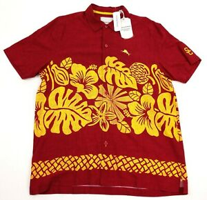 USC-TROJANS-TOMMY-BAHAMA-Men-039-s-L-Trim-Fit-Tiki-Time-Shirt-Collegiate-Series-New