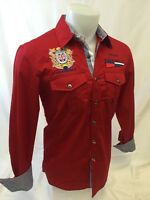 Mens Avalon Long Sleeve Shirt Nautical 2 Pocket Embroidered Red Sailing 322