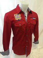 Mens Avalon Long Sleeve Shirt Nautical 2 Pocket Embroidered Red Sailing 322
