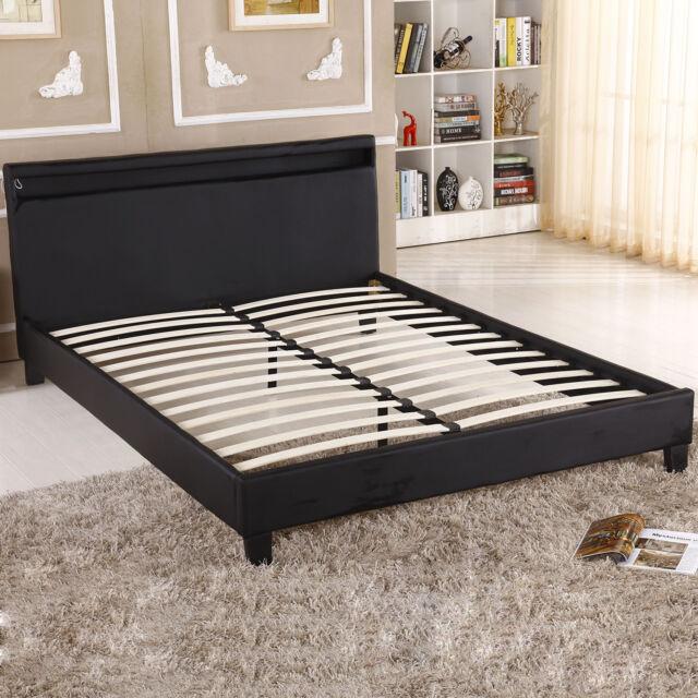 Black Modern Full Size Contemporary Platform Bed With LED Light Bedroom  Stylish
