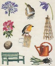 Stickpackung, DMC, Vogel, Blumen, Bank, Garten, gez. Kreuzstich, sticken, 34x27