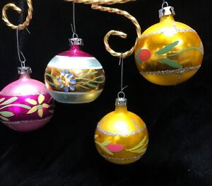 red hand painted ornaments Vintage glass ornaments made in Poland mixed set of vintage ornaments