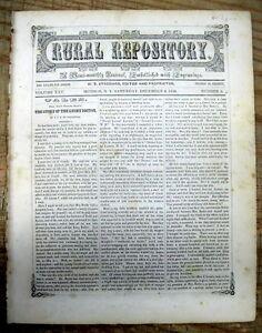 1848 newspaper w Biography of SAMUEL MORSE - ARTIST & INVENTOR of the TELEGRAPH