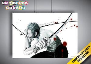 Image Is Loading Poster One Piece Fanart Zorro Wall Art Manga
