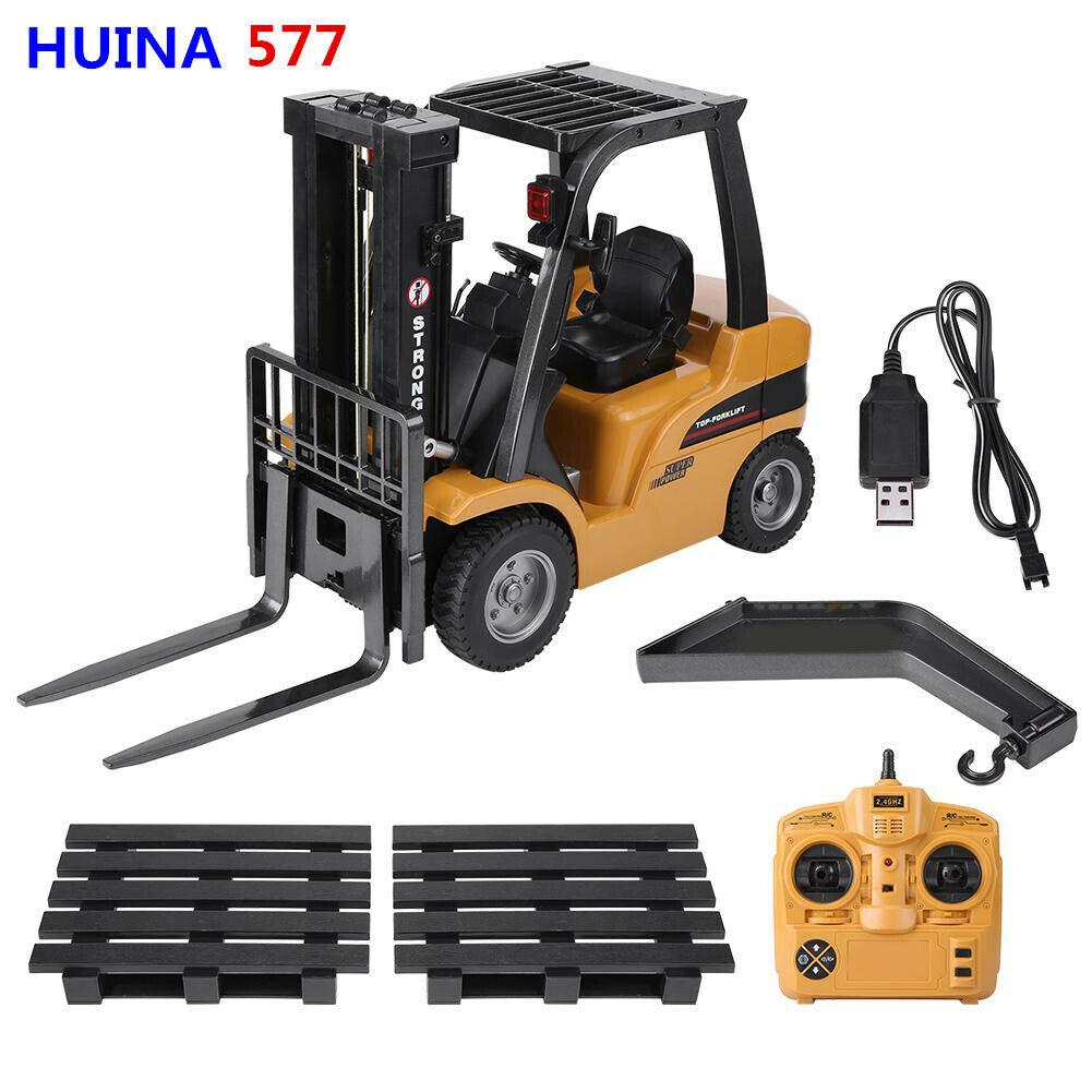 Camión eléctrico HUINA 577 2.4G 8CH radio control modelo Cocheretilla Elevadora de Juguete de vehículos de ingeniería
