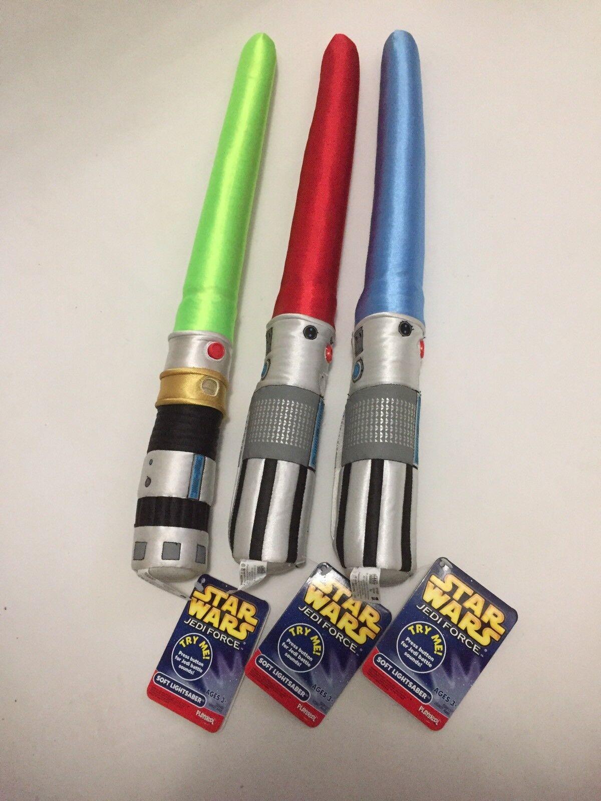 Playskool Hasbro Jedi Force Plush Soft Lightsabers Lot Of 3 ROT Blau Grün Rare