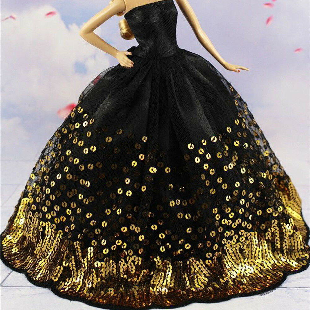Luxury Black Wedding Party Dress Gold Sequins Clothes Grows for 11inch Doll Gift 3