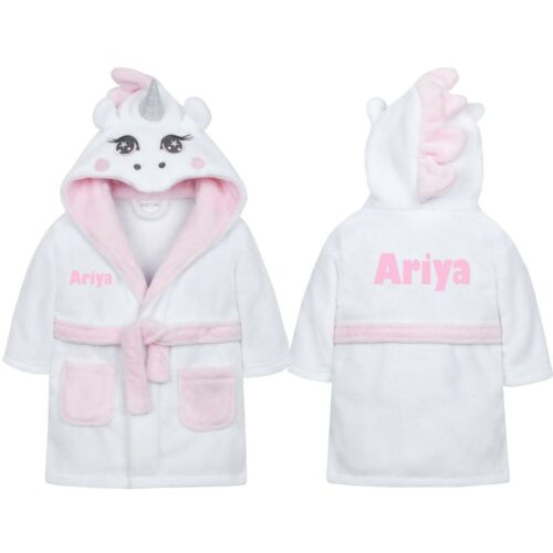 Personalised Baby Dressing Gown Bath Robe House Coat White Pink Unicorn lot