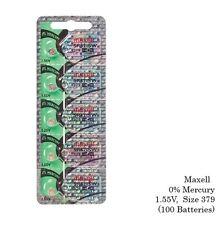 Maxell 379 SR521SW V379 SR521 Silver Oxide Watch Batteries (100 Pcs)