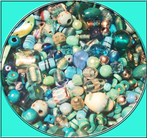 über 200 Perlenmix türkisblau Glas Holz Muschel Metall Acryl 2 x 80g 6-25 mm