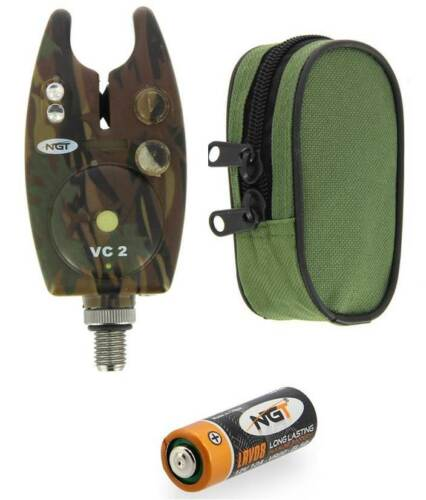 1-3PC x NGT Waterproof VC2 Bite Alarm with Volume+Tone Control and Battery+Case