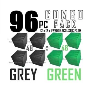 96 pack Gray and Green Acoustic Wedge Sound Studio Foam 12x12x1 soundproofing