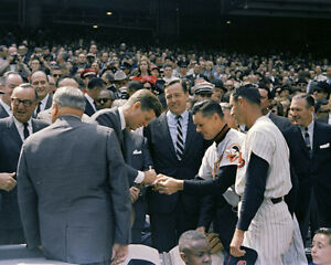 President-John-F-Kennedy-signs-autograph-at-baseball-game-1963-Photo-Print